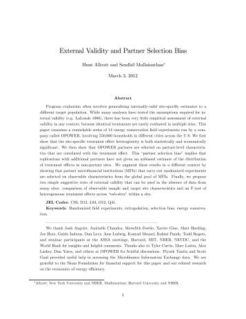 External Validity and Partner Selection Bias - Energy Institute at Haas