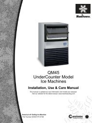 QM45 UnderCounter Model Ice Machines - Manitowocice.Com