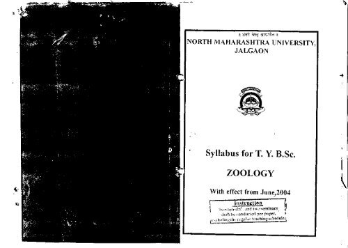 Syllabus for TYBSc  ZOOLOGY - North Maharashtra University