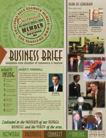 February 2013 - Owatonna Chamber of Commerce and Tourism