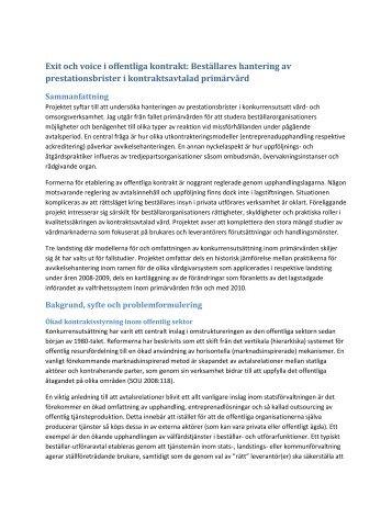 Exit och voice i offentliga kontrakt - Göteborgs universitet