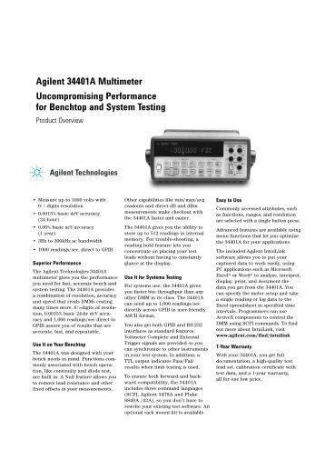 Agilent 34401A Multimeter Uncompromising Performance for ...