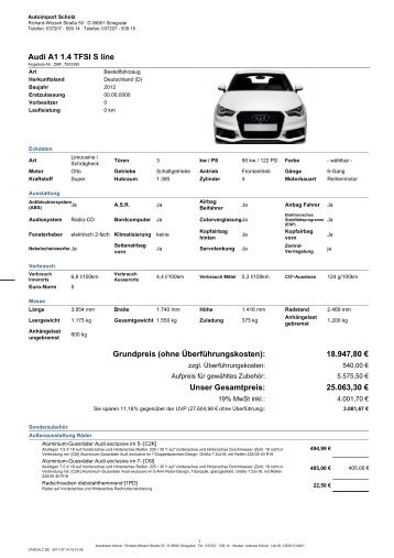 Audi A1 1.4 TFSI S line Grundpreis (ohne ... - A1talk.de
