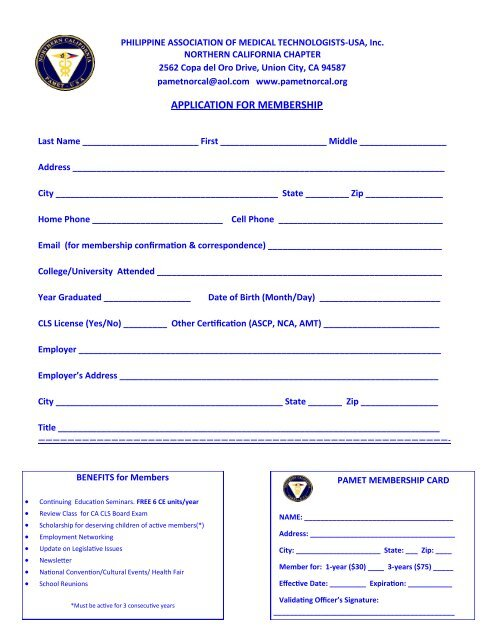 Download a PAMET Membership application form in PDF