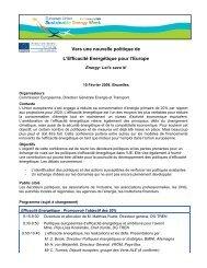 Vers une nouvelle politique de L'Efficacité Energétique pour l'Europe