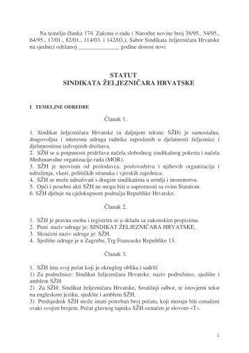 Statut SZH - Sindikat Željezničara Hrvatske