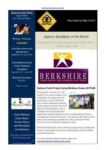 NSP August eNews, 2011 Summer Edition - National Safe Place