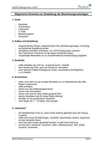 skript schriftliche bewerbung nestor - Schriftliche Bewerbung