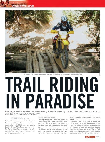 Kiwi Rider Magazine - Fair Dinkum Bike Tours