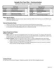Sample First Year Plan – Communication - Carroll University