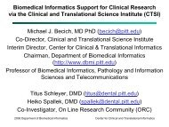 Biomedical Informatics Support for Clinical Research via the Clinical ...