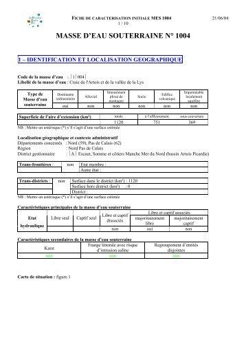 masse d'eau souterraine n° 1004 - Agence de l'eau Artois Picardie