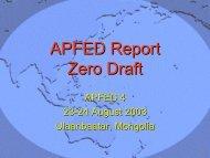 APFED Report Zero Draft