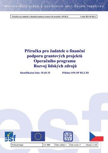 Příručka pro žadatele - Evropský sociální fond v ČR