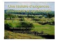 philosophie et agrobiologie. - INRA Montpellier