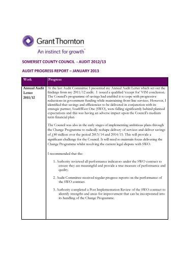 2013 February 14 Item 6 External Audit Progress Report Appendix