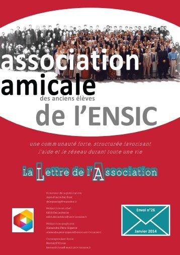 La Lettre de l'Association - ENSIC : Association des Anciens
