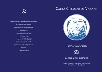 CARTA CIRCULAR DE VAISAKH - The World Teacher Trust
