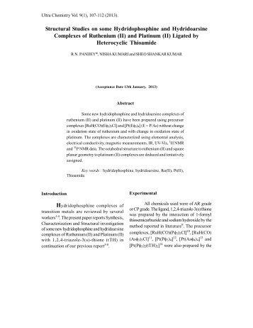 Structural Studies on some Hydridophosphine ... - Ultrascientist.org