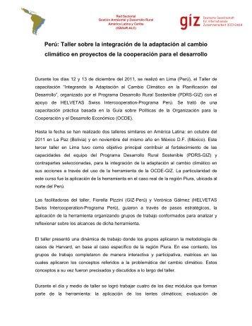 Perú: Taller sobre la integración de la adaptación al cambio ... - PDRS