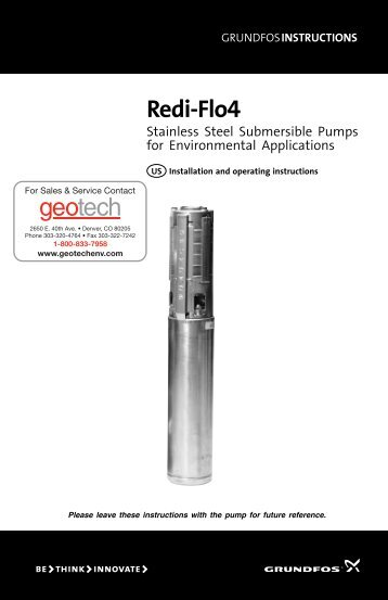 Grundfos Redi-Flo4 Installation and Operating Instructions - Geotech