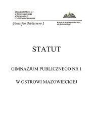 Statut Szkoły - Gimnazjum Publiczne nr 1 w Ostrowi Mazowieckiej