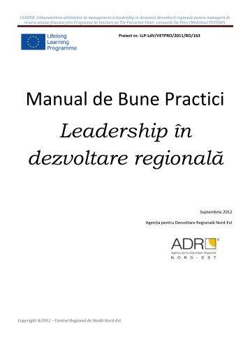 Manual de bune practici - Leadership in dezvoltare regionala