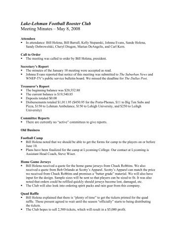 Lake-Lehman Football Booster Club Meeting Minutes – May 8, 2008