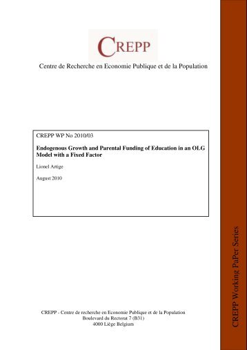 Endogenous Growth and Parental Funding of Education in an OLG ...