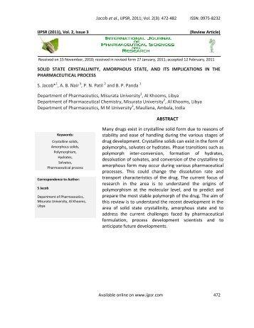 IJPSR (2009), Issue 1, Vol - International Journal of Pharmaceutical ...