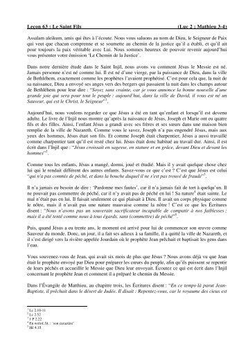 Leçon 63 : Le Saint Fils (Luc 2 ; Mathieu 3-4) Assalam aleikum, amis ...