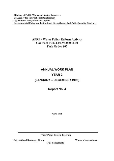 Report 4 Annual Work Plan - LIFE-IWRMII Project, Egypt