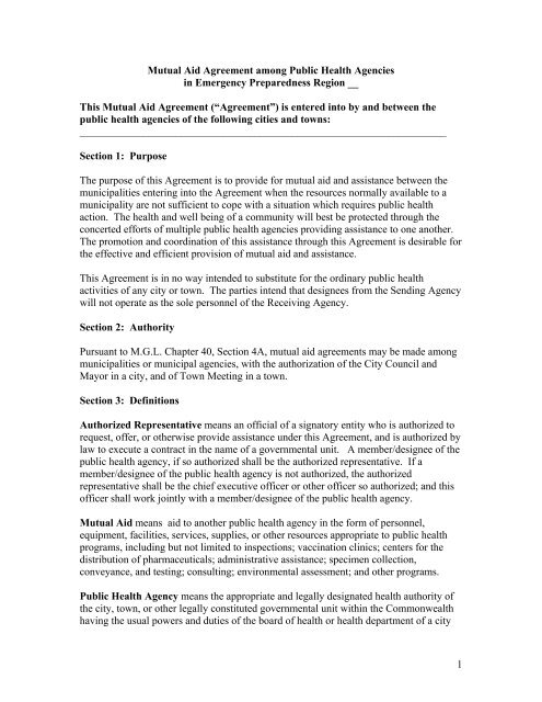 Public Health Mutual Aid Agreement A Template Cambridge