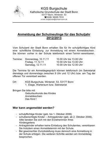 Anmeldung der Schulneulinge für das Schuljahr ... - KGS Burgschule