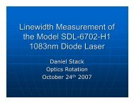 Linewidth Measurement of the Model SDL-6702-H1 1083nm Diode ...