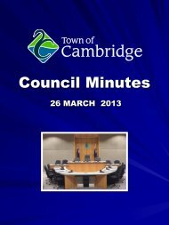 MEETING OF COUNCIL - Town of Cambridge