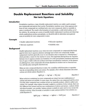 single and double replacement reactions experiment 10