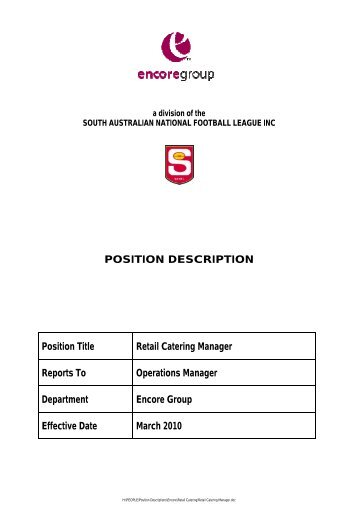 POSITION DESCRIPTION Position Title Retail Catering ...   Sanfl  Catering Manager Job Description