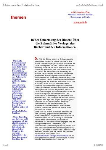 Bertelsmann Tl.1 - u-lit Literatur Magazin