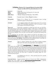 Syllabus, Physics 212, Introductory Physics II - Engineering Physics ...