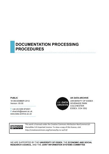 Documentation Processing Procedures - UK Data Archive