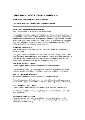 OUTGOING STUDENT FEEDBACK FORM 09 10