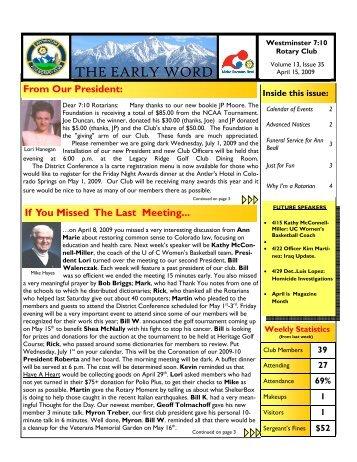Newsletter -- April 15, 2009 - Westminster 7:10 Rotary