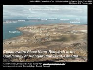 Collaborative Place Name Research in the Community of Kinngait ...