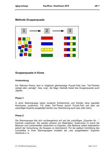 Methode Gruppenpuzzle Gruppenpuzzle in Kürze - igkg-schwyz