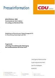 6. Juni 2013: Rede zu - Julia Klöckner