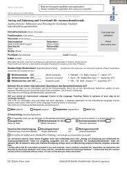 Antrag auf Zulassung und Unterkunft für Austauschstudierende