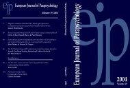 Volume 19, 2004 - European Journal of Parapsychology