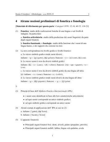 4 Alcune nozioni preliminari di fonetica e fonologia