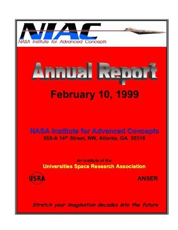 NIAC 1998-1999 Annual Report - NASA's Institute for Advanced ...